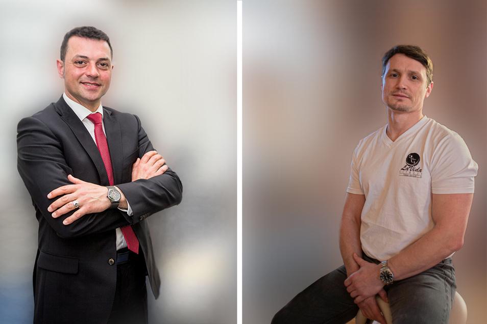 Diese zwei wollen Landrat im Kreis Bautzen werden: Udo Witschas von der CDU (links) und der Unternehmer Tobias Jantsch.