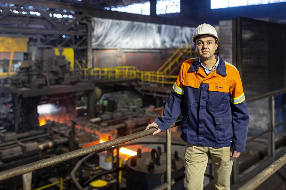 """Der Geschäftsführer des Edelstahlwerks Freital, Alexander Grosse, sagt: """"So einen Stromausfall wie im November will ich nicht wieder erleben."""""""
