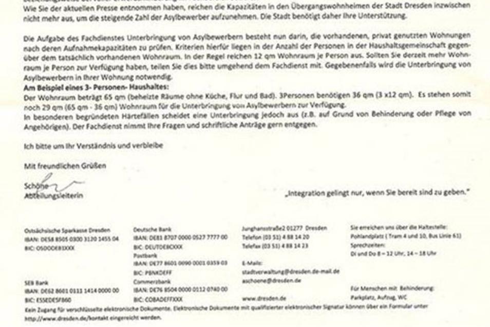Angeblich unterzeichnete eine Mitarbeiter des Sozielamtes diesen Brief.