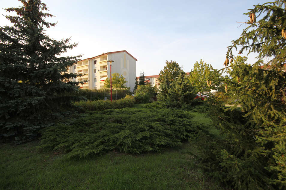 Insbesondere zwischen den Häusern der LebensRäume-Genossenschaft fallen die gepflegten Anlagen, Spielplätze und das viele Grün auf.