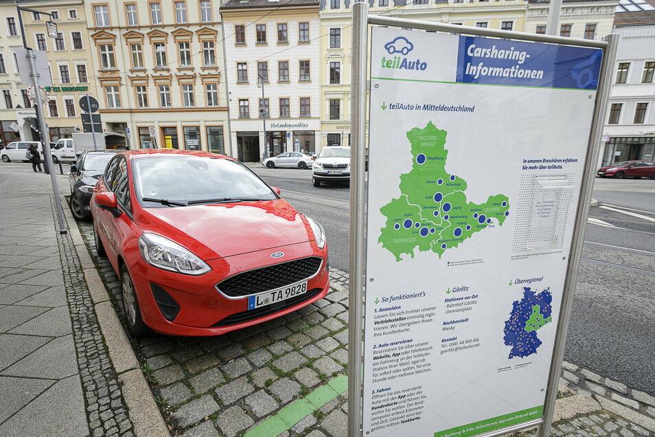 Einer der beiden vorhandenen Carsharing-Standorte ist am Demianiplatz mitten in der Görlitzer Innenstadt zu finden.