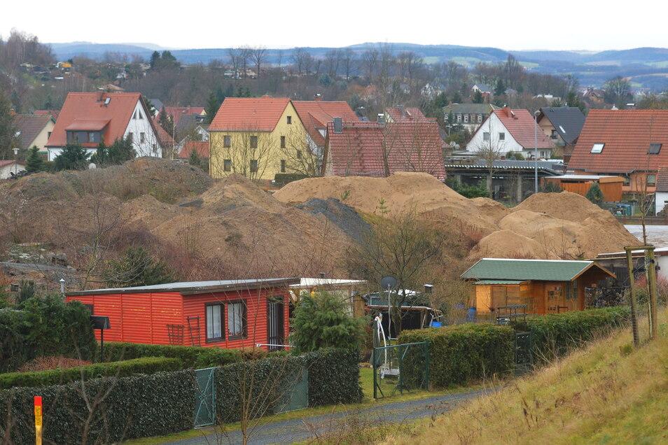 """Blick auf das Gebiet """"An der Sandgrube"""" im Pirnaer Ortsteil Jessen: Hier können künftig weitere Eigenheime entstehen."""