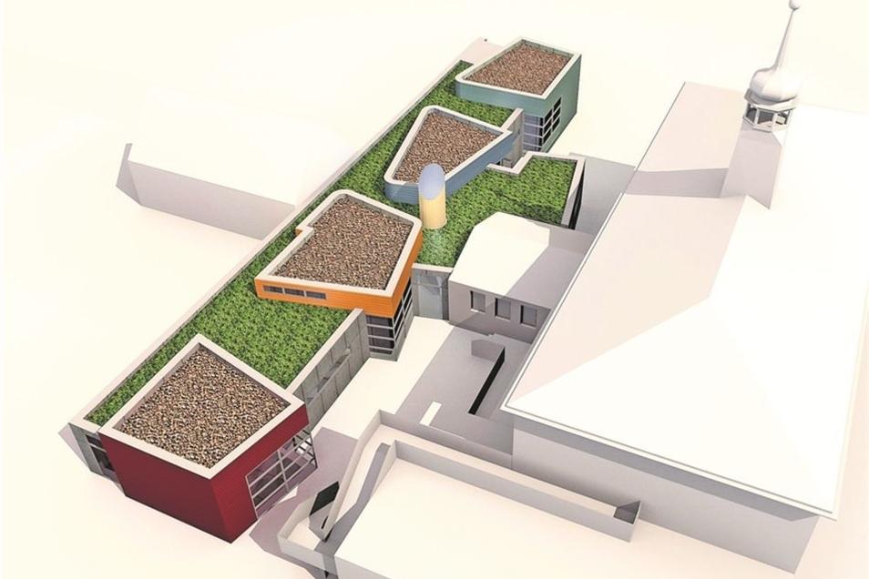 So könnte sie mal aussehen, die erweiterte Kita Zwergenland in Radebeul-Wahnsdorf. Direkt an den Altbau, die ehemalige Schule mit dem Türmchen, schließt sich der Anbau mit drei neuen Gruppenräumen an. Visualisierung: Architekturbüro aT2 Mehnert+Georgi