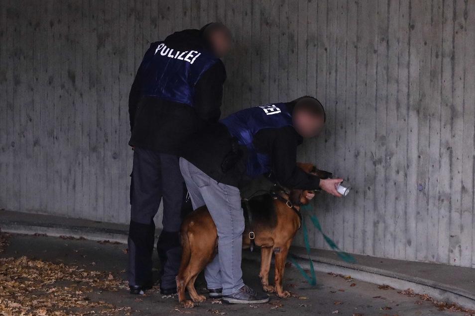 In einer Tiefgarage sollte der Personensuchhund auf die Spur der Diebe kommen, nachdem sie ihr Fahrzeug dort angezündet hatten.