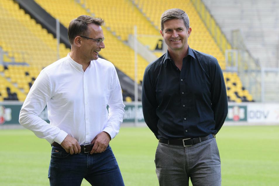 Gut gelaunt war auch Michael Born (l.) bei der Vorstellung von Ralf Becker als neuen Sportgeschäftsführer. Die Zusammenarbeit dauerte jedoch nur kurz.