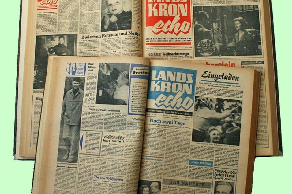 """Das wöchentliche """"Landskronecho"""" begann mit einem großen Format (rot), während die kleinere Ausgabe (hier blau) später wesentlich mehr Seiten aufwies. Die Farben wechselten übrigens Woche für Woche."""
