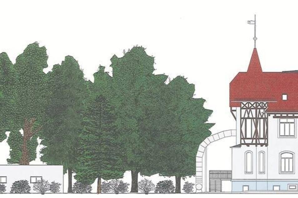 Krippe: So wird der Anbau an die Wurzelzwerge-Kita von der Fritz-Weber-Straße aussehen. Der Haupteingang wird sich auf der Seite zur Thomas-Mann-Straße befinden. Ende des Jahres soll der Bau fertig sein. Entwurf: Joe