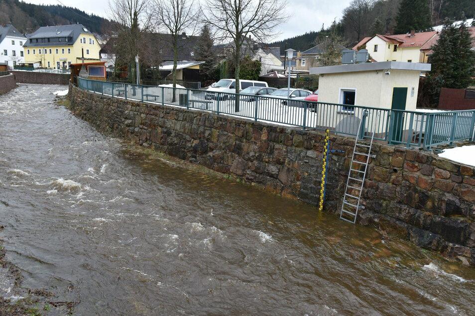 Hier fließt die Rote Weißeritz am Pegel in Schmiedeberg vorbei. Sie führt erheblich mehr Wasser als vor einer Woche, ist aber von einer Hochwassergefahr noch weit entfernt.