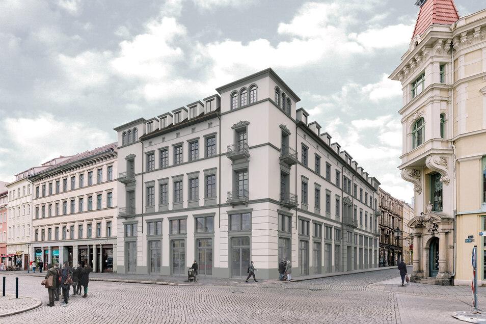 So soll das Eckhaus Obermarkt/Steinstraße künftig aussehen. Auch wenn es noch nicht losgeht: Der Bauherr hält an seinen Plänen fest.