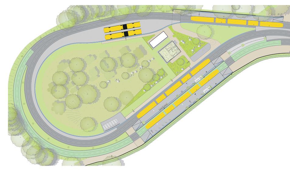 Innerhalb der Schleife wird eine Wendemöglichkeit für Busse eingerichtet. Auch nach dem Umbau hat die Anlage zwei Aufstellgleise für die beiden Straßenbahnlinien 1 und 12.