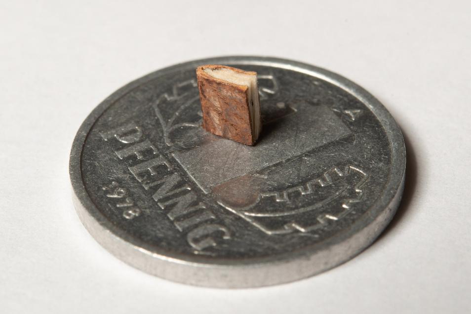 Nur wenige Millimeter misst dieses Exemplar aus DDR-Zeiten, das einst als kleinstes Buch der Welt galt.