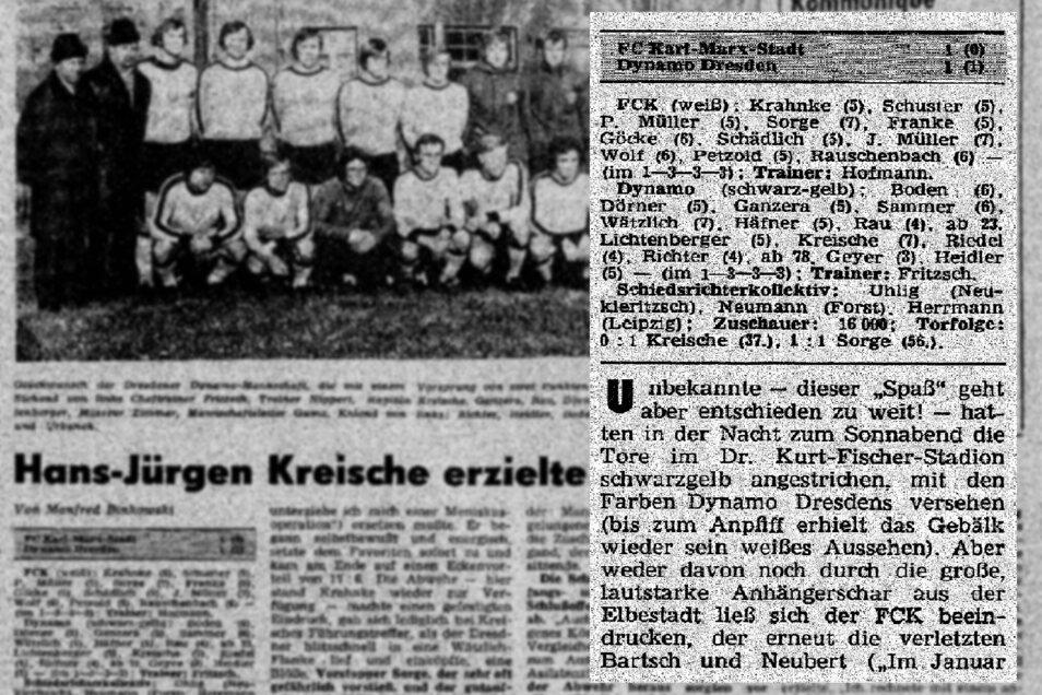 Selbst die DDR-Fußballzeitschrift Fuwo berichtete nach dem 1:1 über den Jungenstreich der fünf Dynamo-Fans. Damals wusste man noch nicht, wer die Übeltäter waren.