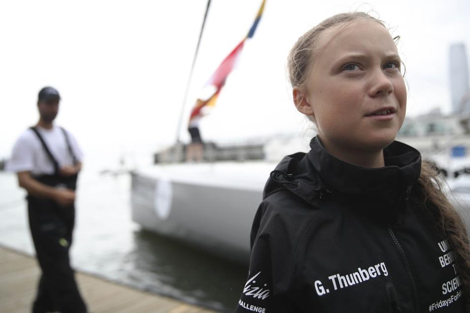 Greta Thunberg, schwedische Klimaaktivistin, spricht nach ihrer Ankunft im Hafen von New York
