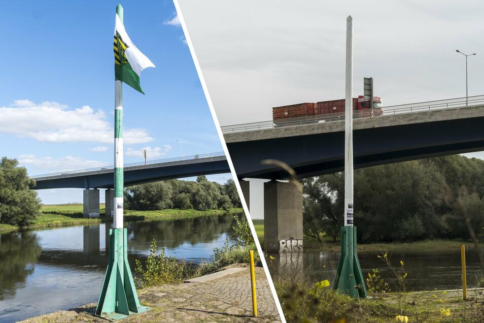 Links: So sah der Fahnenmast am Riesaer Elbufer Anfang September aus. Seit voriger Woche ist er komplett weiß (rechts). Das zuständige Amt hatte die ursprüngliche Farbgebung kritisiert.