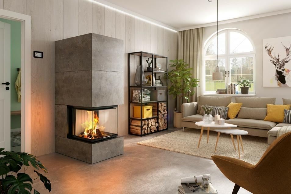 Eine Feuerstätte ist das i-Tüpfelchen bei der Hausbesichtigung (Modell: Spartherm Kamineinsatz Arte-U-50h-4S)