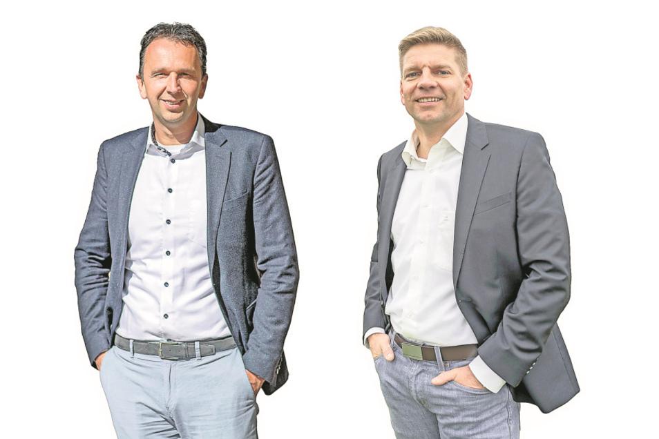 Das Verhalten von Riesas OB Marco Müller (CDU, l.) führt Noch-Stadtrat Gunnar Hoffmann (parteilos, r.) als einen wesentlichen Grund für sein Entlassungsgesuch aus dem Stadtrat an.