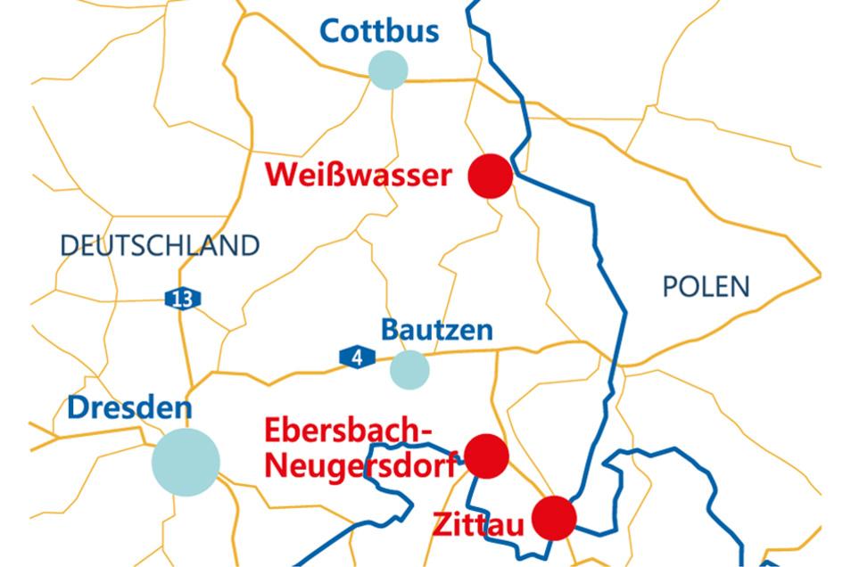 Diedrei Krankenhausstandorten im Landkreis Görlitz: Ebersbach-Neugersdorf, Zittau und Weißwasser.