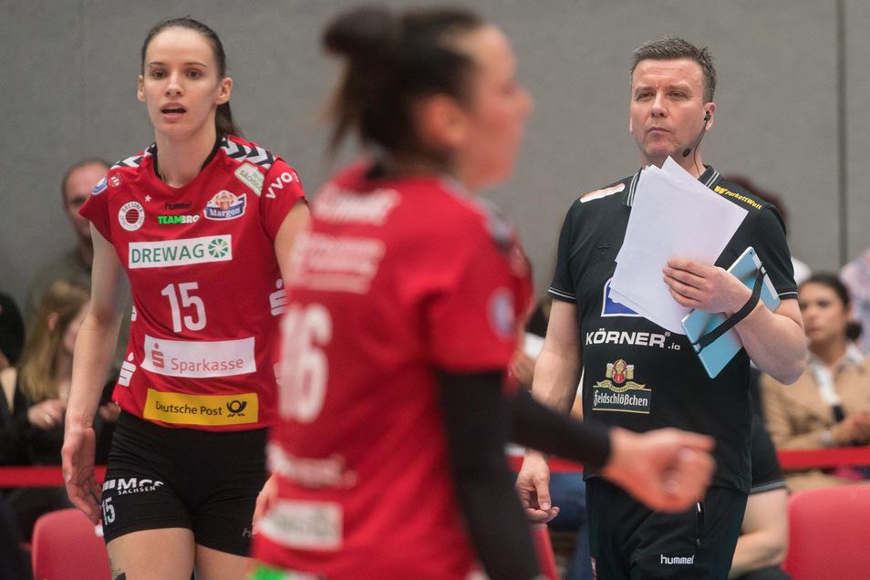 DSC- Cheftrainer Alexander Waibl und Ivana Mrdak, die noch in Dresden bleiben muss.