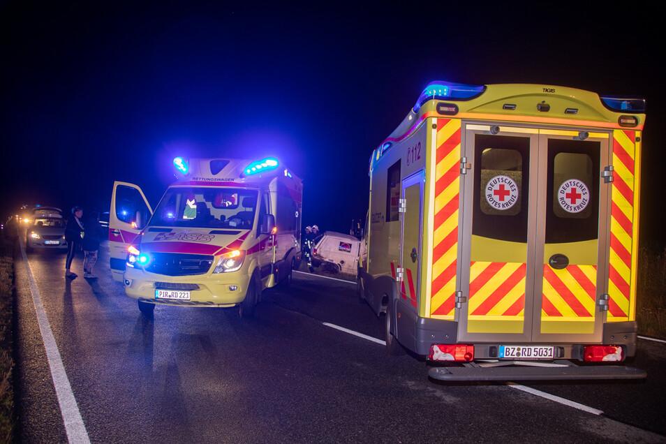 Rettungskräfte rückten auch aus Bautzen an.