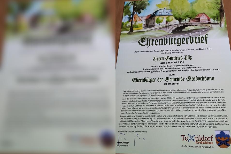 So sieht der Ehrenbürgerbrief aus.
