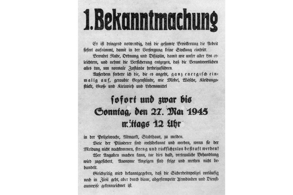 Bekanntmachung vom 23. Mai 1945. Der Bürgermeister mahnte zu Ruhe, Ordnung und Disziplin, um normale Zustände herbeizuführen.