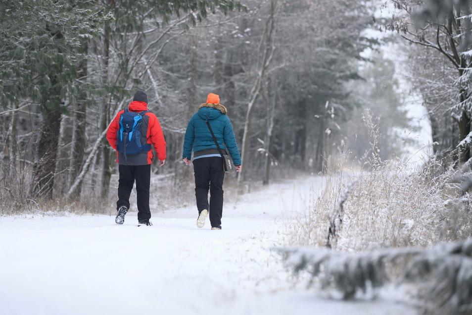 Spaziergänger gehen am Wochenende in Altenberg auf einem verschneiten Wanderweg entlang.