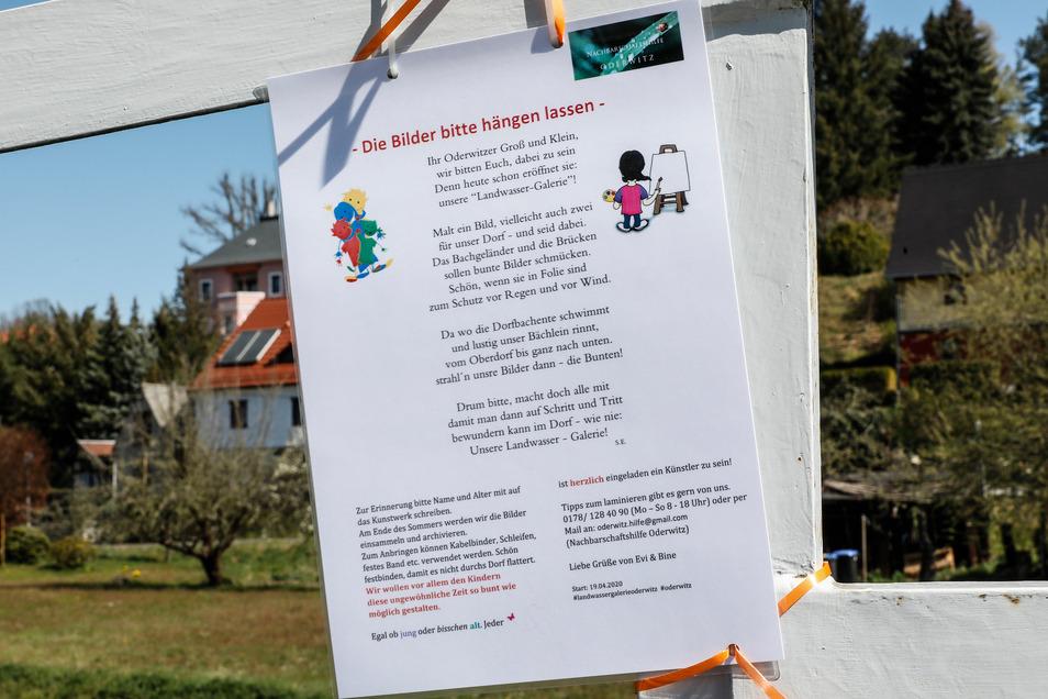 Auf 20 solcher Zettel ruft Sabine Engel in Oderwitz zum Malen für eine Landwasser-Galerie auf.