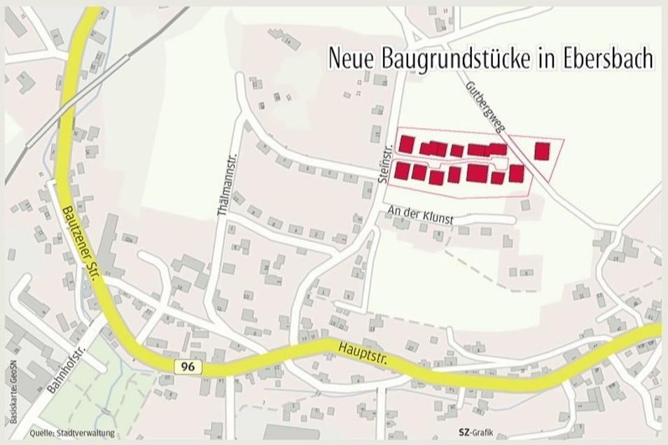 Hier entsteht das neue Wohngebiet mit 15 Grundstücken.