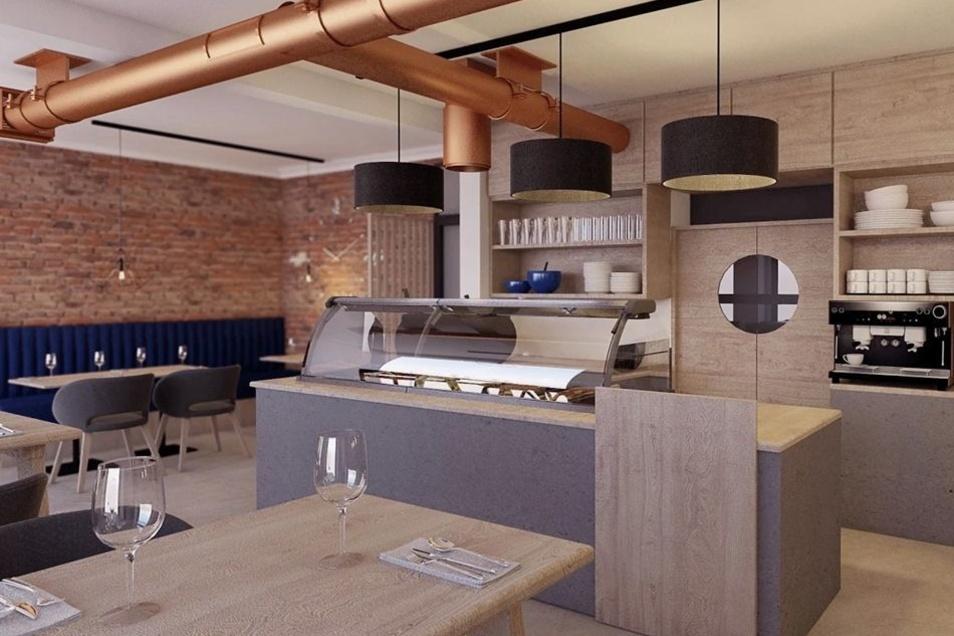 """So soll das Lokal """"Slawomirs Küche"""" an der Dresdener Straße aussehen. Bis der frühere Friseursalon umgebaut ist, dauert es allerdings noch eine Weile. Die Neueröffnung ist spätestens für den 1. März geplant."""
