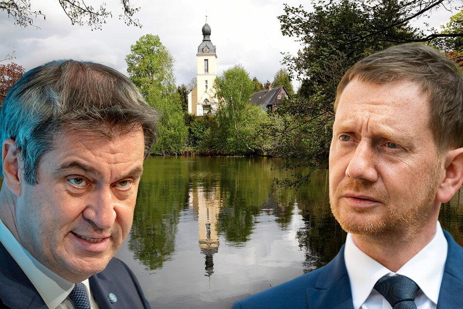 Um den Oppacher Schulteich ging es bei einer Videokonferenz der Ministerpräsidenten Kretschmer (rechts) und Söder am Montag.