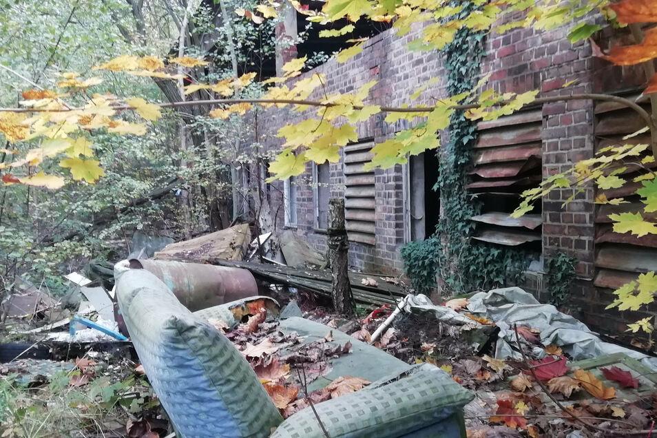 Zwischen den maroden Gebäuden auf dem Gelände liegt allerhand Müll.