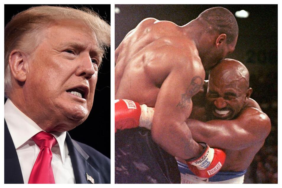 Am 20. Jahrestag der Terror-Anschläge vom 11. September kommentiert der ehemalige US-Präsident Donald Trump den Boxkampf zwischen Evander Holyfield (r.) und Vitor Belfort.