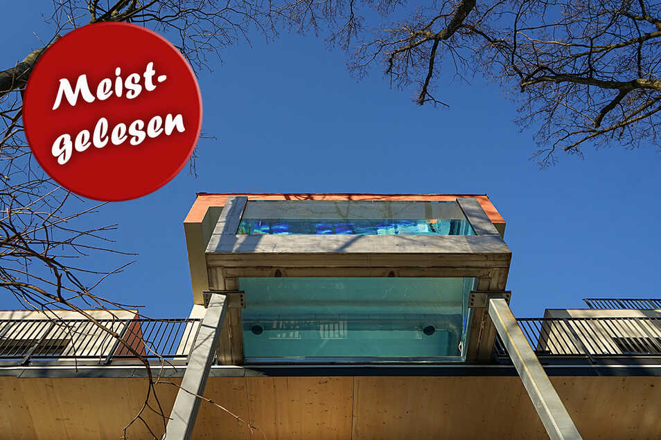In neun Metern Höhe ragt das äußere Ende des 60 Quadratmeter großen Flying Pools über den Köpfen der Gäste. Das macht die Anlage einzigartig in Deutschland.