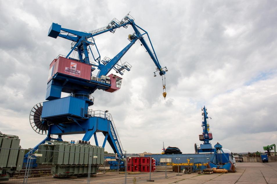 Die Kräne an der Nordseite des Hafens verladen vor allem Schwerlasten, wie Transformatoren und Maschinen.