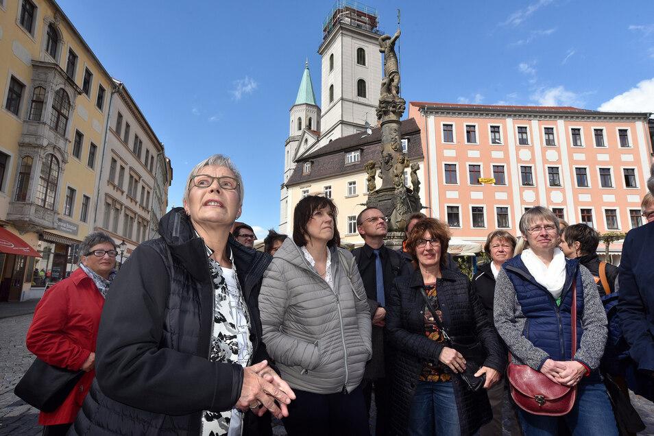 Birgit Kaiser bei ihrem Abschiedsrundgang durch Zittau im Mai.