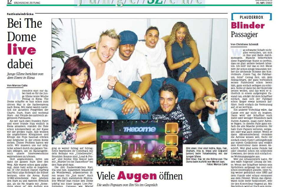 """Im Interview mit der SZ: Die Popband """"Bro'Sis"""" 2002 in Riesa."""