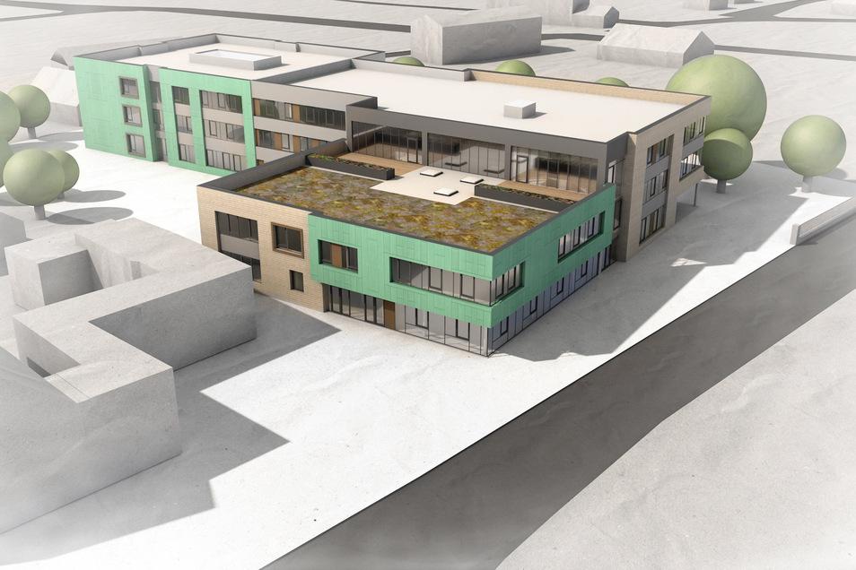 Etwa so könnte die neue Oberschule in Rothenburg aussehen. Die Skizze ist das Ergebnis der Vorplanung und kann sich in den nächsten Wochen noch verändern.