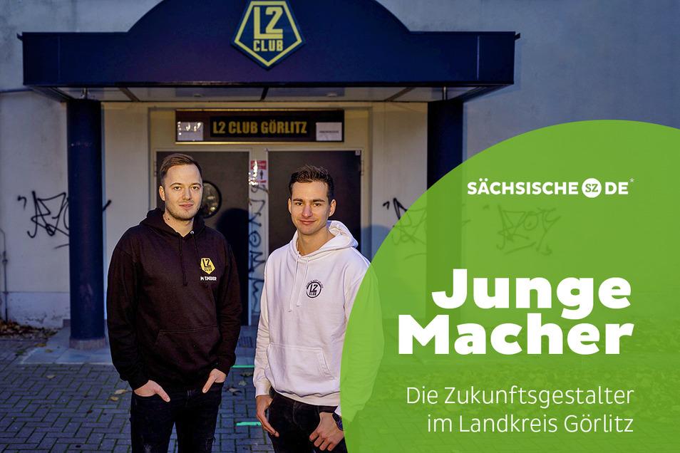 Robert Schulze (l.) und Florian Herbst stehen vor dem L2 Club Görlitz – den früheren Zwei Linden in Rauschwalde.