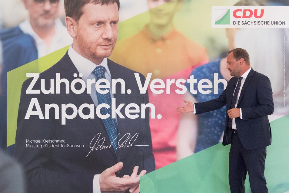 Mit solchen Plakaten und einem Wahlkampfetat von 1,5 Millionen Euro startet die CDU in die entscheidende Phase vor der Landtagswahl.