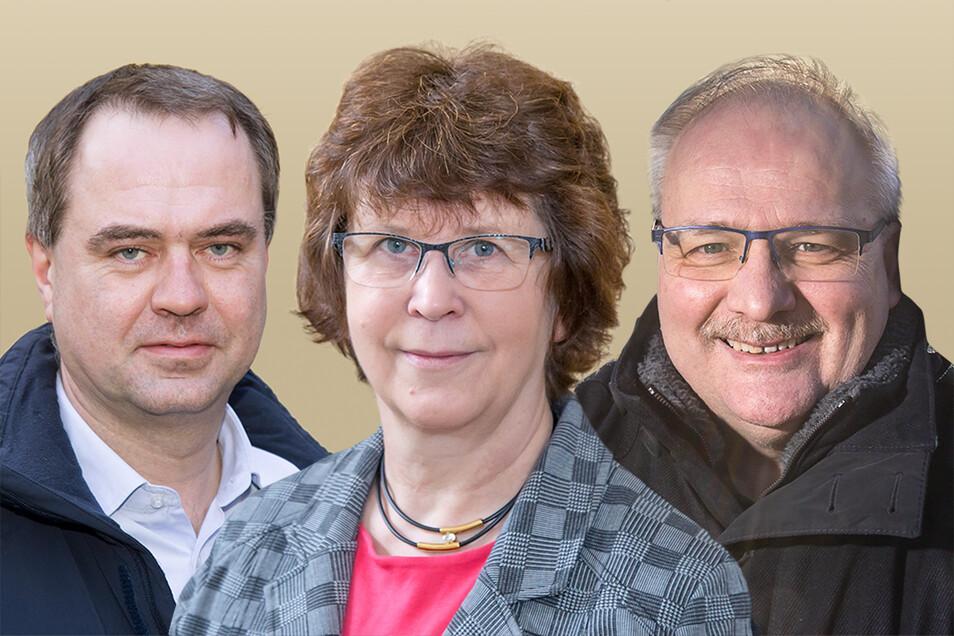 Drei Bewerber für das Bürgermeisteramt in Neißeaue: Per Wiesner, Evelin Bergmann und Ewald Ernst (v.l.)
