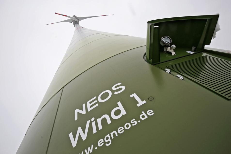 Das Bürgerwindrad bei Streumen. Der Betreiber hat es Neos Wind 1 genannt.