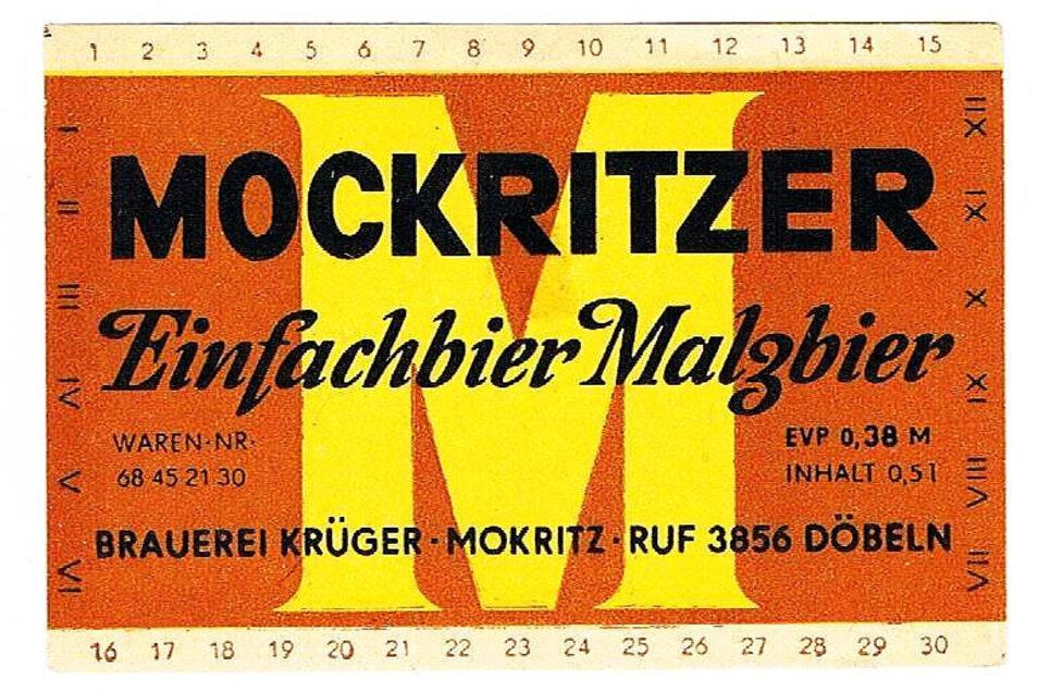 Das Etikett des Bieres aus der ehemaligen Brauerei in Mockritz.
