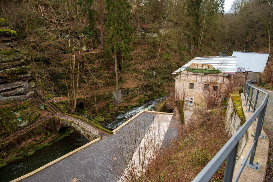 Lochmühle im Liebethaler Grund bei Lohmen. Der Hang steht unter Naturschutz.