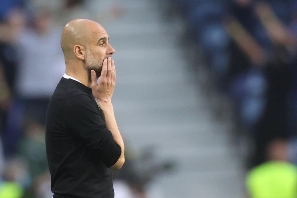 Nicht nur nach dem jüngst mit Manchester City verlorenen Champions-League-Endspiel sprachlos, sondern auch nach einer Testspielpleite mit den FC Bayern: Trainer Pep Guardiola.