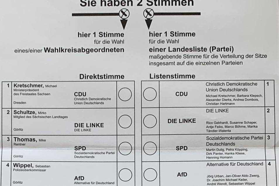 So sehen die Stimmzettel aus: Wahlkreis 57 im Norden des Landkreises, ...