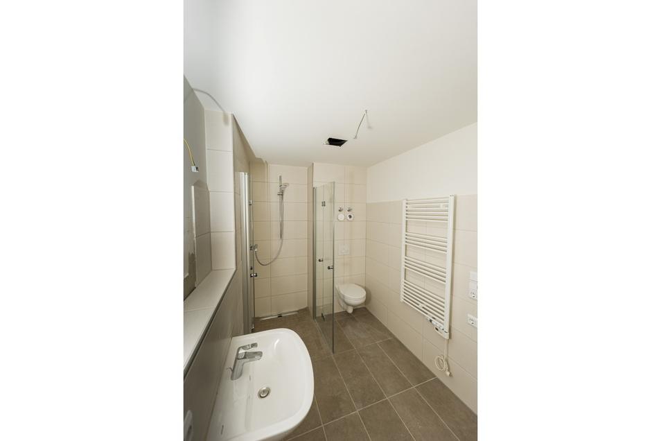 So sieht das Bad der Muster-Wohnung aus.