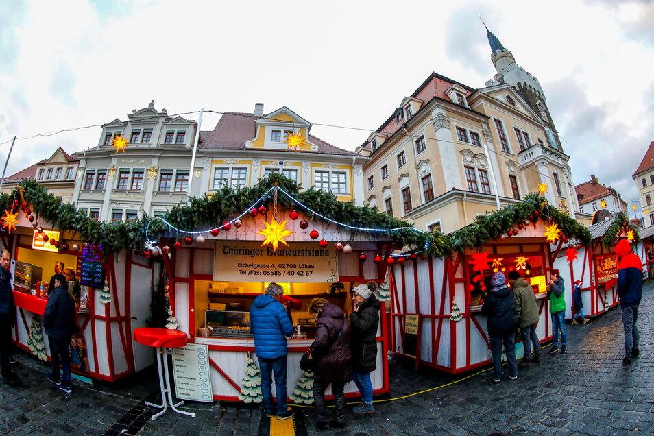 Ein Bild vom Löbauer Weihnachtsmarkt 2019. Wird es dieses Jahr wieder einmal so aussehen auf dem Altmarkt?
