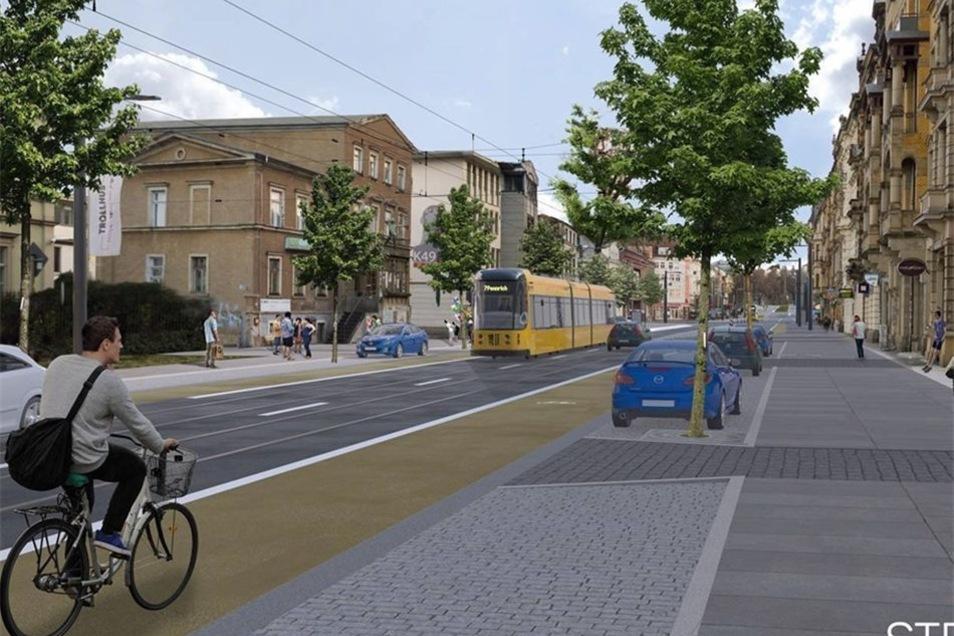 Straßenbahnen und Autos sollen sich die Fahrspur teilen, damit die Straße nicht zu breit wird. Das Flair einer lebendigen Geschäftsstraße soll so erhalten bleiben.