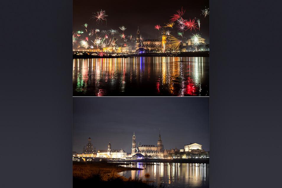 Der Vergleich: Das Feuerwerk in Dresden in den ersten Minuten des neuen Jahres am 01.01.2020 (oben) und den Beginn des neuen Jahres am 01.01.2021 (unten) vor der barocken Stadtsilhouette.