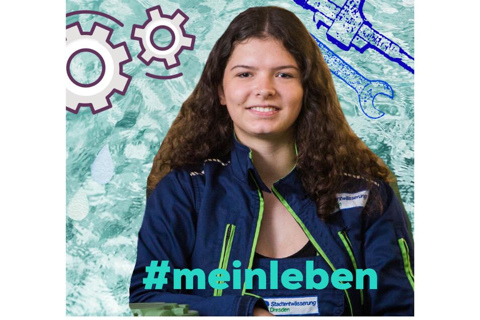 Laura Kämpffe im Hochwasserpumpwerk Dresden-Johannstadt. Sie wird als Abwassertechnikerin ausgebildet, die künftig auch diese Anlage inspiziert.